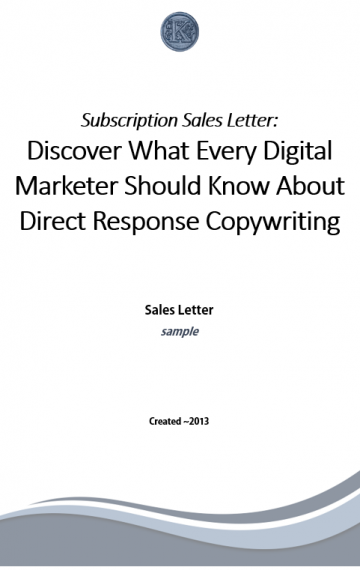 Subscription Services Sales Letter (cover page)